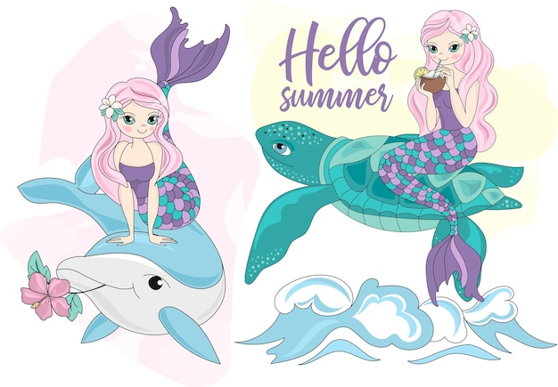 Sea travel clipart color vector illustration set mermaid turtle dolphin