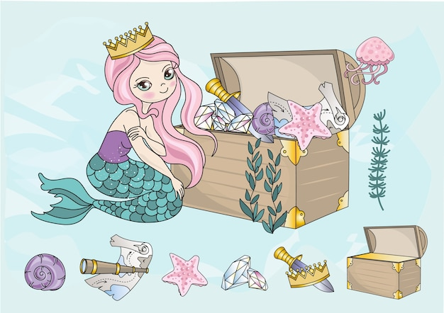 Sea travel clipart color vector illustration set