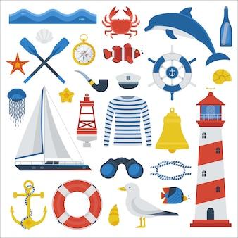 海旅行要素のコレクション。航海ベクトルアイコンを設定。マリンアドベンチャー装備。