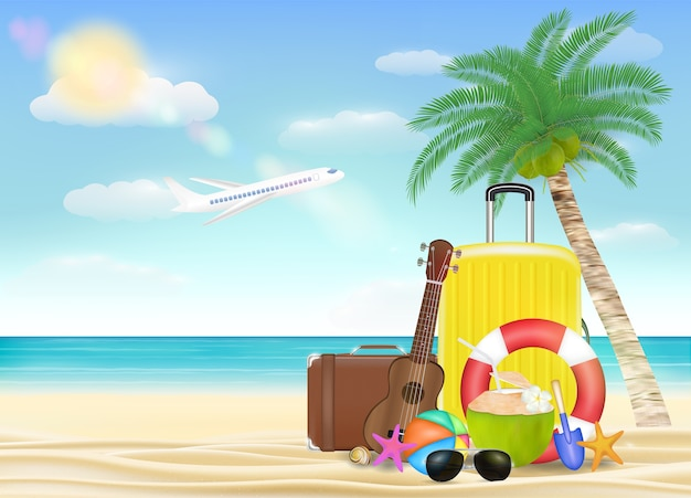 Sea travel object with sun glasses suitcase