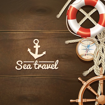 Sea travel and sailing realistic background with life buoy compass and helm