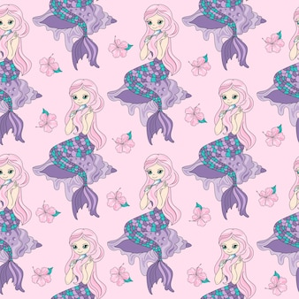 Sea travel seamless pattern color vector illustration mermaid