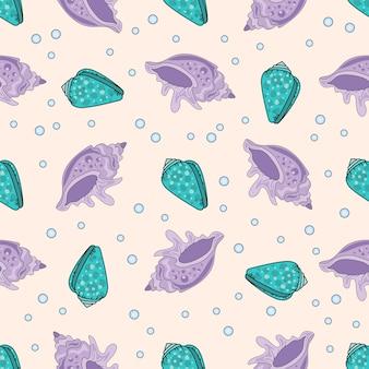 Sea travel seamless pattern color vector illustration purple shell