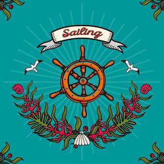 海の旅とセーリング。青色の背景に手描きのベクター画像