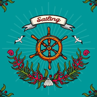 Sea traveling and sailing. hand-drawn vector image on a blue background
