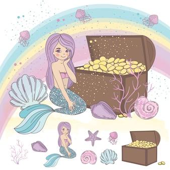 Sea treasure travel vector illustration set
