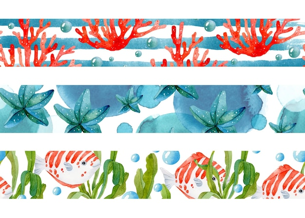 Море тропических украшения акварель бесшовные границы набор