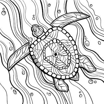 ウミガメの塗り絵のベクトル図です。アンチストレスカラーリング。 zentangleスタイル。