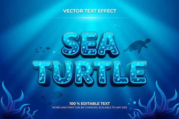 Sea turtle editable 3d text effect with animal backround style