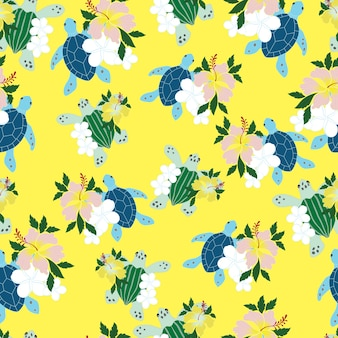 Sea turtle and flower seamless pattern