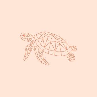 최신 유행의 최소 선형 스타일의 바다 거북 로고. 웹사이트, 티셔츠 인쇄, 문신, 소셜 미디어 게시물 및 이야기를 위한 벡터 바다 동물 아이콘