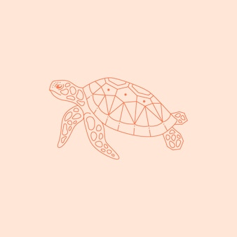 Sea turtle logo in a trendy minimal linear style. vector sea animal icon for website, t-shirt print, tattoo, social media post and stories
