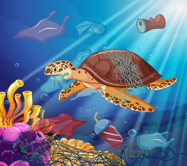 Sea turtle and plastic bags in the ocean