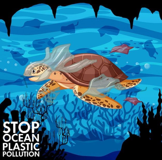 Sea turtle and plastic bags in ocean