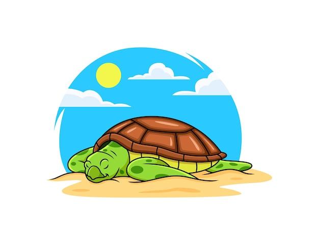 Sea turtle relax on beach cartoon