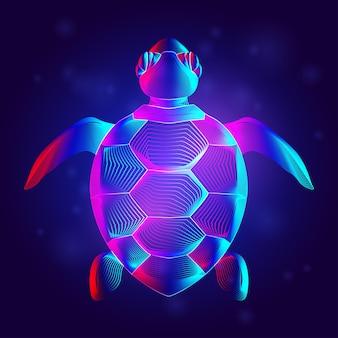 네온 라인 아트 스타일의 바다 거북 실루엣. 추상 홀로그램 또는 수영 거북이의 디지털 개요. 진한 파란색 배경에 야생 바다 거북이 평면도의 3d 벡터 일러스트 레이 션