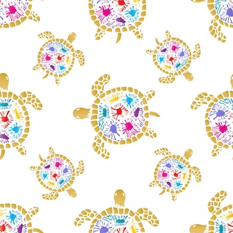 Sea turtle with colored blots on the shell seamless pattern.