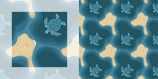 Морские черепахи летом бесшовный фон