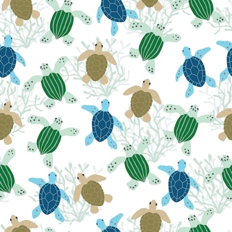Sea turtles seamless pattern