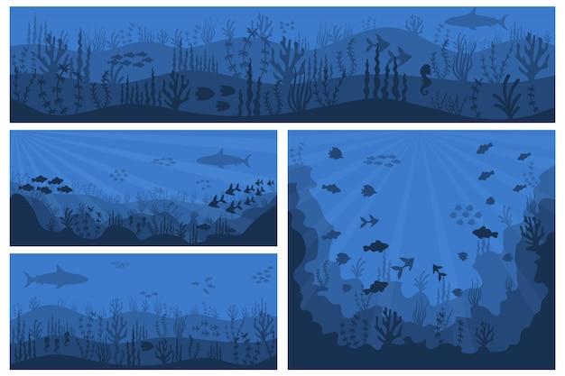 海の水中の背景。深い青色の水、サンゴ礁、魚のいる水中植物。青い海の背景に魚とスキューバダイバーとサンゴ礁のシルエット。