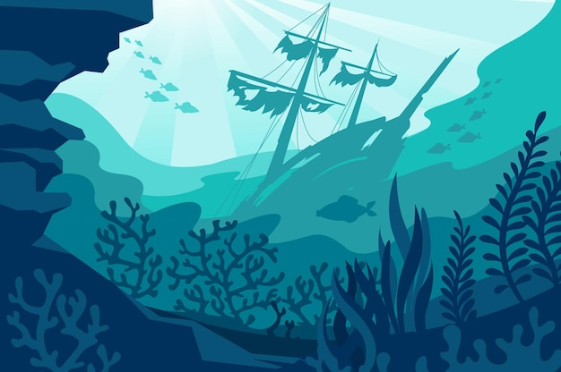 Sea underwater background deep ocean bottom with seaweeds sunken ship coral and fishes silhouettes