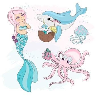 Sea underwater vector illustration set mermaid cocktail