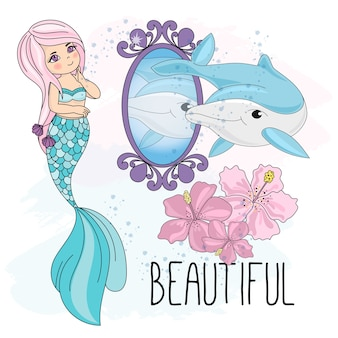 Sea underwater vector illustration set mermaid mirror