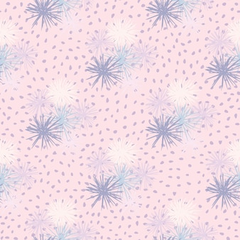 Sea urchin seamless hand drawn pattern. simple abstract ornament in blue and white tones on soft pink dotted background.