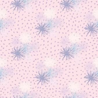ウニのシームレスな手描きのパターン。柔らかいピンクの点線の背景に青と白の色調でシンプルな抽象的な飾り。
