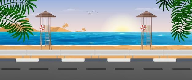 海の眺め。浜辺のレスキュータワー