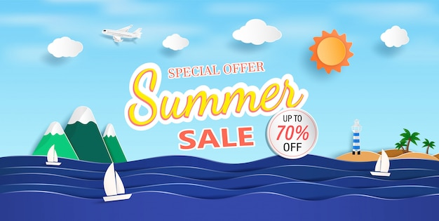 Sea view and summer sale banner  with paper cut.