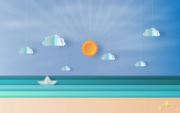 Sea view with a floating sailing boat in blue sky