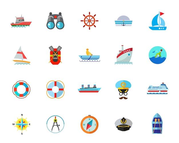 Sea voyage icon set