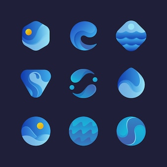 Sea water waves logos, blue wave splash abstract emblems. isolated  set