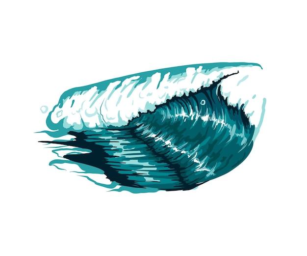 여러 가지 빛깔의 페인트에서 바다 물결 수채화 물감의 스플래시 현실적인 바다 파도