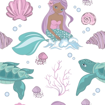 Sea wave mermaid princess seamless pattern