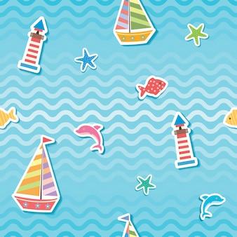 Sea wave seamless pattern.