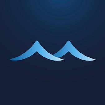Adesivo dell'onda del mare, clipart animata dell'acqua, elemento logo blu per il vettore aziendale