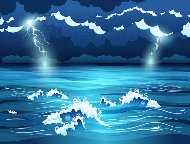 Sea waves and dark sky with lightnings during storm flat illustration