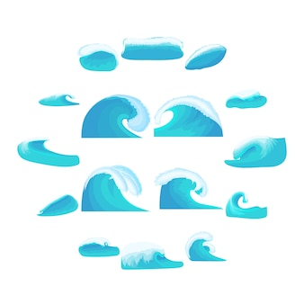 Sea waves icons set, cartoon style