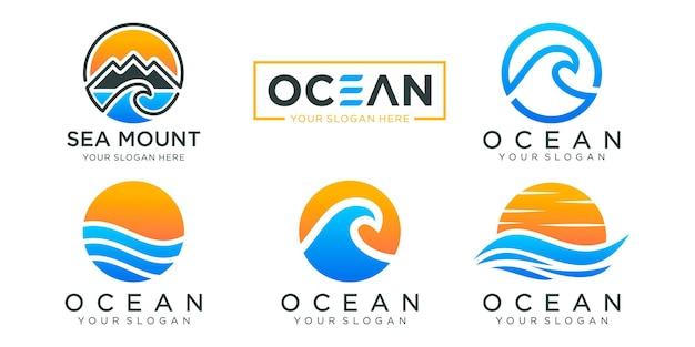바다 파도 로고 아이콘 설정 태양 파도 로고 설정 일몰 파도 로고 벡터