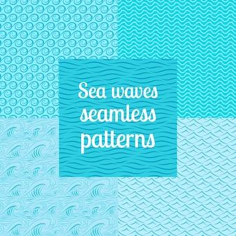 Sea waves seamless patterns set