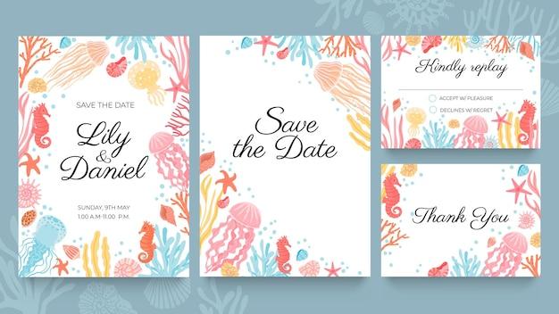 海のウェディングカード。海の貝殻、海藻、珊瑚で飾られた夏のビーチ結婚パーティーへの招待状。結婚式の保存日ベクトルを設定します。カードのデザインに返信、承認、拒否してください