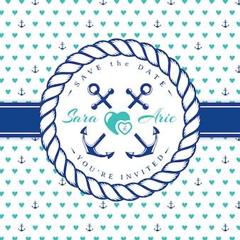 Морской свадебный пригласительный билет. шаблон в морском стиле с рамкой веревки.