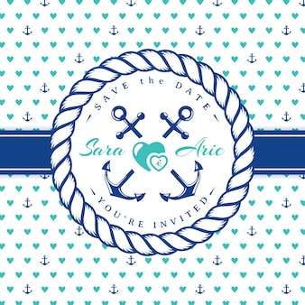 Sea wedding invitation card. template in nautical style with rope frame.