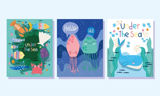 Under the sea, whale jellyfishes fishes crab algae wide marine life landscape cartoon banner cover and brochure