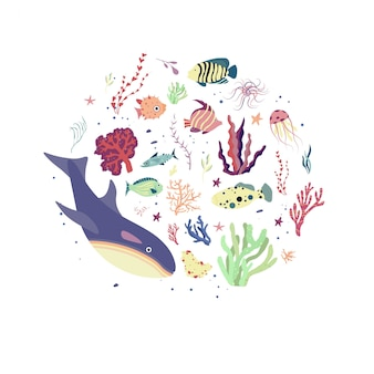 Under the sea world. ecology print, planet and environment protection concept.