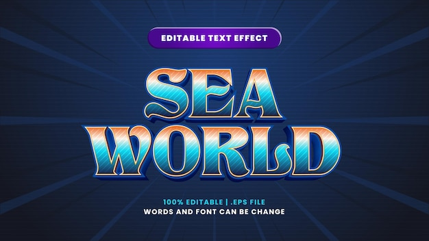 Sea world editable text effect in modern 3d style