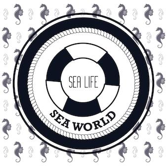 Sea world life buoy and seahorse