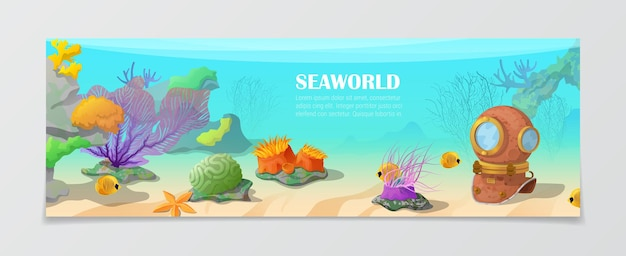 Sea world underwater life nature natural beauty banner template